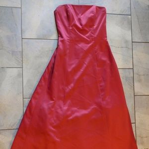 After Six Red Satin Strapless Long Formal